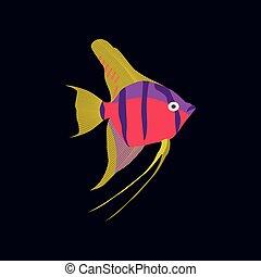 wohnung, stil, vektor, angelfish, abbildung