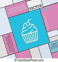 wohnung, stil, zeichen., modern, cupcake, vektor, ikone, dein, design.