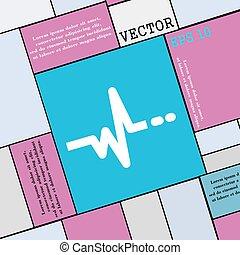 wohnung, stil, zeichen., modern, puls, vektor, ikone, dein, design.