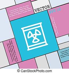 wohnung, stil, zeichen., modern, strahlung, vektor, ikone, dein, design.