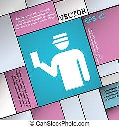 wohnung, stil, zeichen., modern, vektor, inspektor, ikone, dein, design.