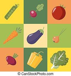 wohnung, stil, zwiebeln, rettich, pfeffer, gesunde, gemuese, essen., cabbage., erbsen, karotte, fleischtomaten, rübe, set., aubergine