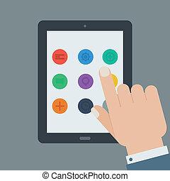 wohnung, tablette, app, vorrichtung, hand, berührungsbildschirm