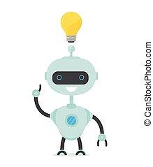 wohnung, thinking., roboter, vektor, karikatur, mann