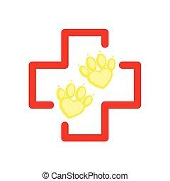 wohnung, tierarzt, aid., pfote, haustier, klinikum, kreuz, logotype., stil, heart., karikatur, rotes , zuerst