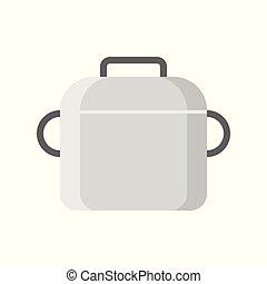 wohnung, topf, kochen, freigestellt, vektor, design, ikone