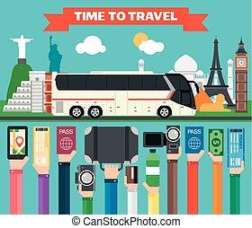 wohnung, tourist, busfahrten, design, zeit