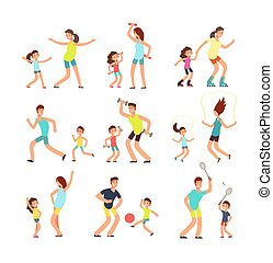 wohnung, training, kinder, familien, leute, familie, freigestellt, sport, vektor, eltern, zusammen., fitness, aktive, übung