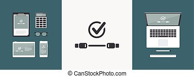wohnung, usb kabel, -, vektor, kontrollieren, minimal, ikone