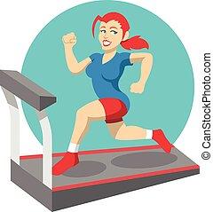 wohnung, vektor, abbildung, fitness