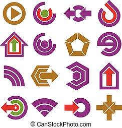 wohnung, vektor, app, buttons., sammlung, von, pfeile, richtung, heiligenbilder, und, verschieden, geschaeftswelt, korporativ, grafik, symbols.