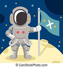 wohnung, vektor, astronaut, abbildung