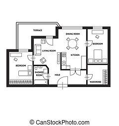 wohnung, vektor, design, plan, architekt, möbel