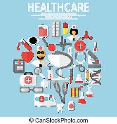 wohnung, vektor, gesundheitspflege