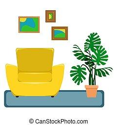 wohnung, vektor, illustration., der, inneneinrichtung, von, der, lebensunterhalt, room., sessel, mit, a, monstera, in, der, pot., erholung, area., ein, freigestellt, figure.