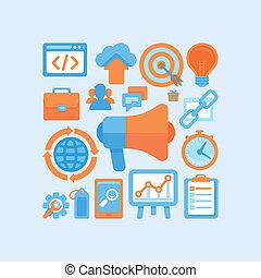wohnung, vektor, internet marketing, begriff