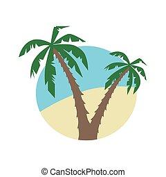 wohnung, vektor, palmen, ikone