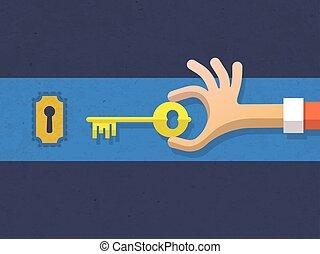 wohnung, vektor, schlüssel, abbildung, hand