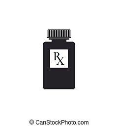 wohnung, verordnung, pille, ikone, isolated., symbol, rx, abbildung, apotheke, vektor, droge, flasche, medizinprodukt, bottle., zeichen, pillen, design.