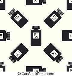 wohnung, verordnung, pille, ikone, muster, symbol, rx, seamless, abbildung, zeichen, hintergrund., vektor, droge, flasche, medizinprodukt, bottle., weißes, apotheke, pillen, design.