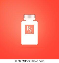 wohnung, verordnung, pille, ikone, orange, symbol, rx, freigestellt, abbildung, apotheke, hintergrund., vektor, droge, flasche, medizinprodukt, bottle., zeichen, pillen, design.