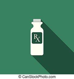 wohnung, verordnung, pille, ikone, shadow., rx, freigestellt, langer, zeichen, symbol, droge, vektor, abbildung, flasche, medizinprodukt, bottle., apotheke, pillen, design.