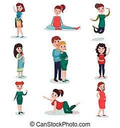 wohnung, verschieden, illustration., schwanger, charaktere, set., time., vektor, erwarten, mutti, schwangerschaft, frauen, posen, baby., glücklich