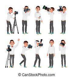 wohnung, verschieden, mann, fotograf, equipment., freigestellt, stativ, kreativ, lichter, poses., abbildung, vector., profession., professionell, occupation., cameras., karikatur, zeichen