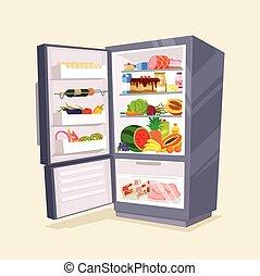 wohnung, voll, abbildung, essen., vektor, schmackhaft, karikatur, kühlschrank