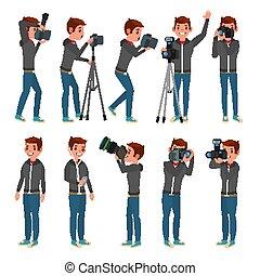 wohnung, voll, kamera., fotograf, nehmen, modern, photos., abbildung, länge, vector., posing., photojournalist, karikatur, design.