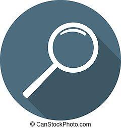 wohnung, web., abbildung, design, vektor, vergrößerungsglas, icon., style., dein