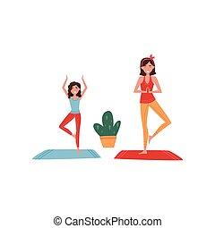 wohnung, wenig, lifestyle., töchterchen, exercise., sie, gesunde, junges mädchen, vektor, design, mutter, joga, woman., lächeln