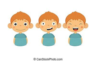 wohnung, wenig, satz, junge, zeichen, verschieden, verwirrt, lachen., vectoer, reizend, emotions., lächeln, kind