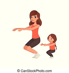 wohnung, wenig, sportliche , töchterchen, exercise., sie, design, sit-ups., family., karikatur, vektor, motherhood., mutti, mutter, sportswear., activity., morgen, m�dchen, physisch
