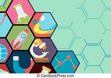 wohnung, wissenschaft, vektor, hintergrund, sechseck, ikone