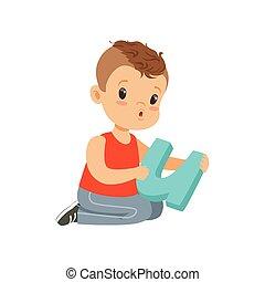 wohnung, zeichen, von, vorschulisch, junge sitting, boden, mit, groß, brief, u, für, diction, exercises., lernen, durch, spielen