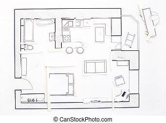 wohnungen, oberseite, -, papier, design, inneneinrichtung, ansicht., modell