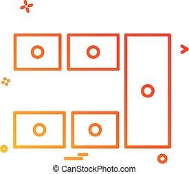 wohnungseinrichtung, ikone, design, vektor