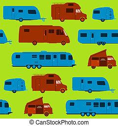 wohnwagen, seamless, muster