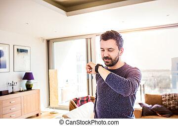 wohnzimmer, arbeitende , uhr, gebrauchend, daheim, klug, ...