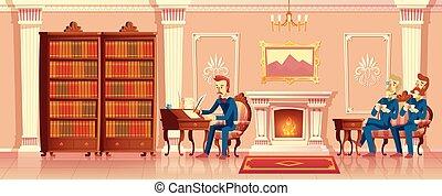 wohnzimmer, firma, herren, vektor, karikatur