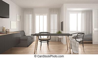 wohnzimmer, graue , modern, inneneinrichtung, hintergrund, design, schalfzimmer, wohnung, klein, weißes, minimal, kueche