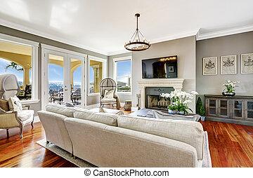 wohnzimmer, haus, luxus, inneneinrichtung, eindrucksvoll