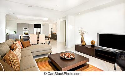 wohnzimmer, haus, modern, ihm, luxuriös, nächste, kueche