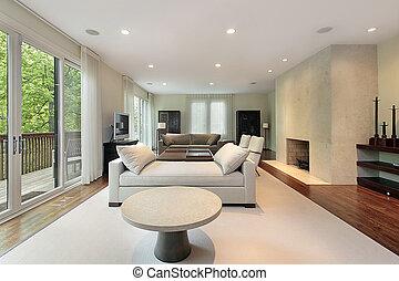 wohnzimmer, in, luxuriöses heim