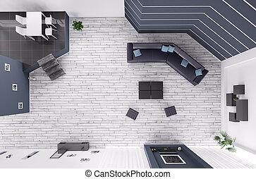 wohnzimmer, inneneinrichtung, draufsicht, 3d, render