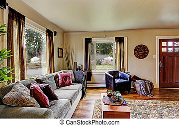 Wohnzimmer, Inneneinrichtung, In, Amerikanische , Haus