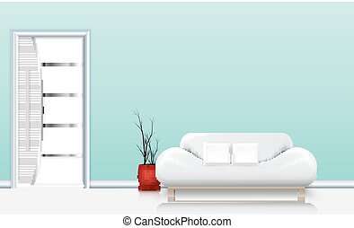 wohnzimmer, inneneinrichtung, mit, a, sofa, und, weißes, kissen