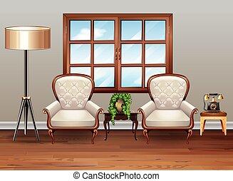 wohnzimmer, luxus, sessel