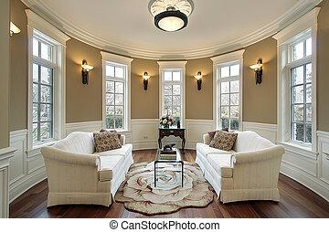 wohnzimmer, mit, beleuchtung, scones